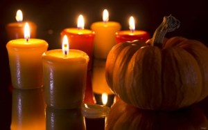 Pumpkins And Candles by Gordon Semmens